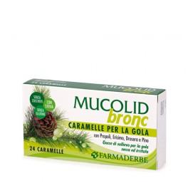 Mucolid Bronc 24 Caramelle Propoli Erisimo Drosera e Pino - Per gola secca ed irritata - Farmaderbe