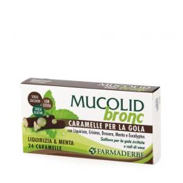 Mucolid Bronc 24 Caramelle Liquirizia Erisimo Drosera Menta e Eucalyptus - Per Gola irritata e cali di voce - Farmaderbe