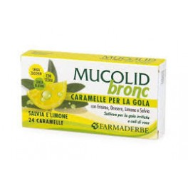 Mucolid Bronc 24 Caramelle - Salvia e Limone - Per Gola irritata e cali di voce - Farmaderbe