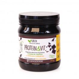 Protein & Vit CACAO Integratore alimentare di proteine e vitamine del gruppo B - Spezzafame o sostituto del pasto - Farmaderbe