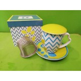 Decò VERT Tisaniera in porcellana con piattino, filtro in metallo, coperchio e scatola regalo