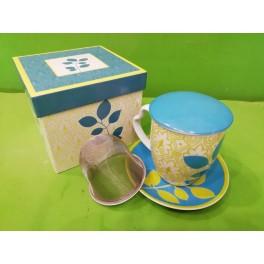 Decò TURQUOISE Tisaniera in porcellana con piattino, filtro in metallo, coperchio e scatola regalo