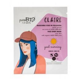 Claire Maschera viso in cellulosa per pelli Grasse - Good morning  - PUROBIO